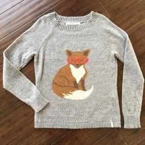 Gray XS WOOLRICH Fox Sweater Fox w/ Glasses